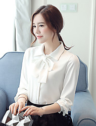 Women's New Fashion Stand Collar Chiffon Long Sleeve Blouses Shirt