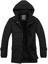 cheap -Men's Regular Padded Coat,Casual Daily Solid-Polyester Without Filling Material Long Sleeves Hooded