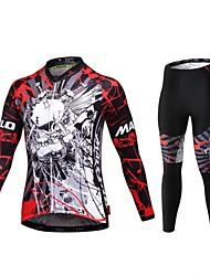 baratos -Malciklo Calça com Camisa para Ciclismo Homens Manga Curta Moto Roupas de Compressão Meia-calça Secagem Rápida Zíper Frontal Vestível