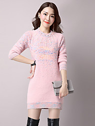 Women's Casual/Daily  Long Pullover,Print Pink / Beige / Gray Round Neck Wool / Cotton Fall / Winter Medium