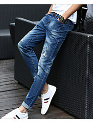 cheap -Men's Mid Rise Micro-elastic Jeans Pants,Casual Solid Cotton All Seasons