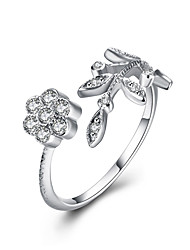 cheap -Fine Sterling Silver Flowers, Leaves, Diamond Statement Ring for Women Wedding Party