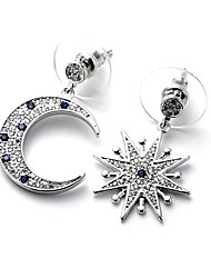 Feminino Brincos Compridos Moda Jóias de Luxo Incompatibilidade Cobre Imitações de Diamante Estrela Jóias Para Diário Casual