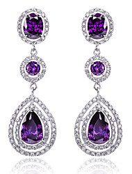 cheap -Women's Cubic Zirconia Earrings - Sterling Silver, Zircon, Cubic Zirconia Drop Luxury, Fashion, Bridal White / Purple / Blue For Wedding Daily Casual