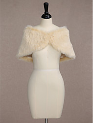 Sleeveless Faux Fur Wedding Party Evening Women's Wrap With Button Capelets