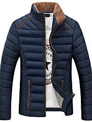 Standard Imbottito Da uomo,Cappotto Casual / Taglie forti Tinta unita Poliestere Cotone Manica lunga