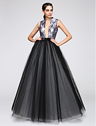 A-Line V-neck Floor Length Satin Tulle Formal Evening Dress with Pattern / Print by TS Couture®