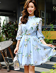 DABUWAWA Women's Going out / Holiday Vintage / Cute / Street chic A Line Dress,Floral / Color Block Round Neck Above Knee¾