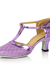 "cheap -Women's Modern Sparkling Glitter Heel Indoor Performance Buckle Hollow-out Customized Heel Purple Fuchsia Brown Golden Light Blue 2"" - 2"