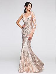 Mermaid / Trumpet Scoop Neck Floor Length Sequined Prom Formal Evening Dress with Appliques Sequins by TS Couture®