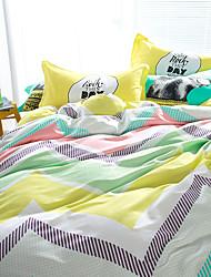 preiswerte -Blumen Bettbezug-Sets 4 Stück Baumwolle Muster Reaktivdruck Baumwolle ca. 1,50 m breites Doppelbett1 Stk. Bettdeckenbezug / 2 Stk.