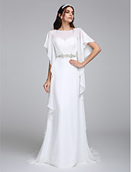 Sheath / Column Bateau Neck Chapel Train Chiffon Wedding Dress with Beading by LAN TING BRIDE®
