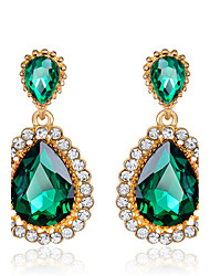 cheap -Women's Elegant Green Emerald AAA Zircon Crystal Drop Earrings for Wedding Party, Fine JewelryImitation Diamond Birthstone