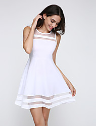 cheap -Women's Going out Casual Skater Dress,Solid Round Neck Mini Sleeveless Polyester Summer High Rise Micro-elastic Thin