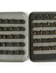 "40pcs pc Esca Esche morbide Mosche Nero Giallo g/Oncia,7 mm/<1"" pollice,Metallo Acciaio al carbonioPesca di mare Pesca a mosca Pesca a"