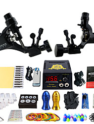 cheap -Complete Tattoo Kit 2 alloy machine liner & shader 2 Tattoo Machines LCD power supply Inks Shipped Separately
