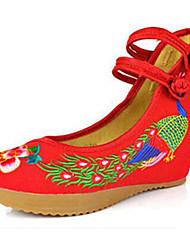 povoljno -Žene Cipele Platno Proljeće Ljeto Udobne cipele Cipele Mary Jane vezene cipele Ravne cipele Hodanje Ravna potpetica Kopča Cvijet za