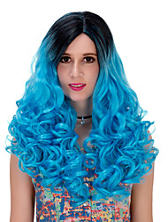 Women Fahsion Wig Black Blue Ombre Long Curly Lolita Wig Halloween Wig Natural Cosplay Wig