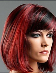 cheap -Black Mixed Red Synthetic Wigs Classical Ladies Straight Silky Heat Resistance Wig Wholesale