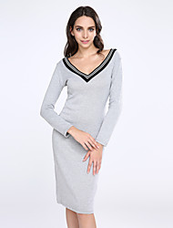 cheap -Women's Sexy Bodycon Casual Micro-elastic Long Sleeve Knee-length Dress (Knitwear)