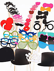 cheap -Photo Booth Props 44 Pcs/Set Photobooth For Wedding Birthday Party Photo Booth Props Glasses Mustache Lip On A Stick