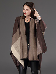 preiswerte -Damen Lang Mantel / Capes-Lässig/Alltäglich Übergröße Street Schick Patchwork Blau Rot Braun Grau V-Ausschnitt Langarm Wolle Baumwolle