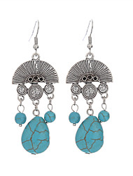 Women's Drop Earrings Vintage Bohemian Silver Plated Turquoise Alloy Geometric Drop Jewelry For Daily Casual