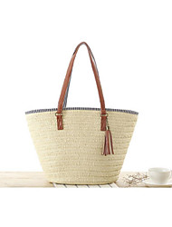 Women Bags All Seasons Straw Tote for Casual Beige Army Green Light Brown