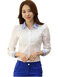 Недорогие -Жен. Офис Большие размеры - Рубашка Хлопок, Рубашечный воротник Контрастных цветов Вышивка