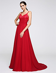 cheap -A-Line Spaghetti Strap Court Train Chiffon Open Back Formal Evening Dress with Lace by TS Couture®