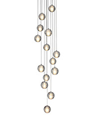 Modern Led Pendant Light 14 Lights G4 Bulbs included Warm White Metal Chrome Crystal Globes Remoter Dimming Stair Light
