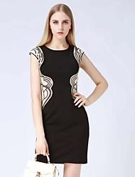 levne -klimeda dámská jednoduchý tisk bodycon šaty, kulatý výstřih mini polyester