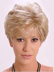 economico -Parrucche sintetiche Liscio / Kinky liscia Oro Taglio asimmetrico Capelli sintetici Attaccatura dei capelli naturale Oro Parrucca Per donna Corto Senza tappo