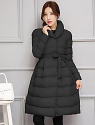 cheap -Women's Solid Slim Thicken Warm Large Size Down Coat,Street chic Shirt Collar Long Sleeve