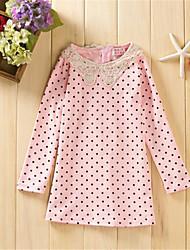 cheap -Girl's Daily Polka Dot Dress, Cotton Spring Fall Long Sleeves Dot Black Pink