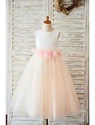 A-Line Tea Length Flower Girl Dress - Satin Tulle Sleeveless Jewel Neck with Bow(s) Flower(s) by LAN TING BRIDE®