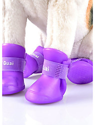 cheap -Blue/Black/Purple/Yellow/Pink Waterproof Multicolors Deslick Rubber Rain Shoes for Pets