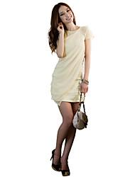 abordables -De las mujeres Corte Bodycon Vestido Sexy / Vintage / Fiesta / Para Trabajo / Bonito Un Color / Retazos Sobre la rodilla Cuello Barco