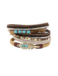 Fashion Women Multi Rows Natural Stone Set Wrap Leather Bracelet