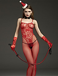SKLV Women Nylon Cut Out Sheer Chemises & Gowns Lingerie/Ultra Sexy/Teddy Red Nightwear