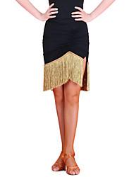 Latinské tance tutu a sukně Dámské Trénink Čínský nylon Střapce Jeden díl Bez rukávů Přírodní Sukně M:54cm-55cm L:54cm-55cm XL:54cm-55cm