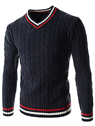 cheap -Men's Striped Casual / Sport Pullover,Wool / Cotton Long Sleeve Blue / Green / White Wool Sweater