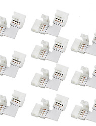 cheap -10pcs 10mm L-shape 4-conductor Quick Splitter RGB LED Connector for SMD 5050 RGB LED Strip Lights, (10 Pack)