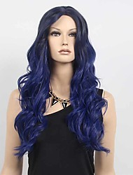 cheap -Women's Fashion Black Blue Ombre Color Long Wavy Synthetic Wigs For Women Wig.