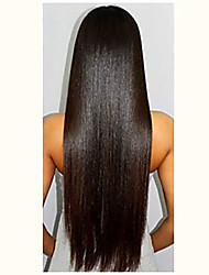 cheap -Virgin Human Hair Glueless Full Lace Glueless Lace Front Full Lace Wig Brazilian Hair Yaki Straight Wig Deep Parting 130% Density with Baby Hair Natural Hairline African American Wig 100% Hand Tied