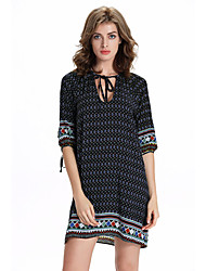 Women's Beach Holiday Cute Loose Dress,Geometric U Neck Above Knee ½ Length Sleeve Rayon Summer High Rise Micro-elastic