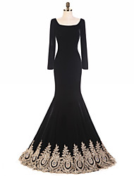 Mermaid / Trumpet Square Neck Sweep / Brush Train Velvet Formal Evening Dress with Ruffles by DRRS