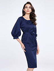 cheap -Women's Going out Plus Size Sexy Sheath Dress,Solid Round Neck Knee-length Half Sleeves Acrylic Polyester Summer Mid Rise Micro-elastic