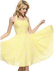 cheap -Women's Party Plus Size Going out Vintage Cute Sexy Swing Dress,Plaid Strap Knee-length Sleeveless Cotton All Seasons Mid Rise Inelastic