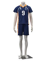 abordables -Inspirado por Haikyuu Kageyama Tobio Animé Disfraces de cosplay Trajes Cosplay Un Color Manga Corta Top Pantalones cortos Para Hombre